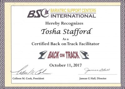 Bariatric Back on Track Facilitator Certification