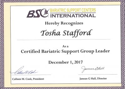 Bariatric Support Group Leader Certification