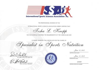 Specialist in Sports Nutrition